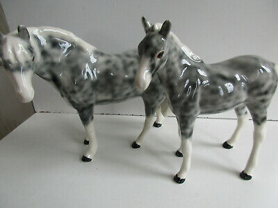 2 Vintage Elite Pottery  Appaloosa  Horses  Mare & Foal V.g Condition • 24£