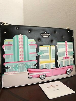 $ CDN239.54 • Buy Kate Spade Checking In Pink Car Leather Crossbody Clutch Purse Bag Miami Hotel