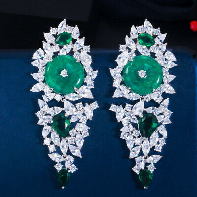£8.60 • Buy Vintage Emerald Green CZ Ethnic Round Long Leaf Drop Earrings For Women Party