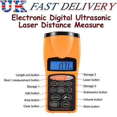 £15.88 • Buy Electronic Ultrasonic Measure Distance Meter With Laser Pointer LCD Measure Tape