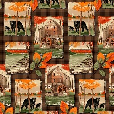 Country Rustic Fabric - Bear & Cabin Collage On Brown - Timeless Treasures YARD • 7.82£