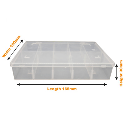 Clear Small Plastic Storage Divider Box Adjustable X8 Dividers,10 Compartments • 5.60£