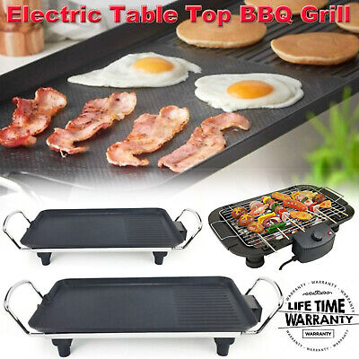 £25.49 • Buy Electric Table Top Grill Griddle BBQ Hot Plate Camping Cooking Cast Pan/Fork Set