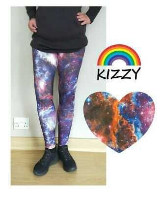 £14 • Buy Cosmic KIZZY LEGGINGS Sizes 10-26 Printed STURDY SOFT HIGH WAIST Galaxy Space