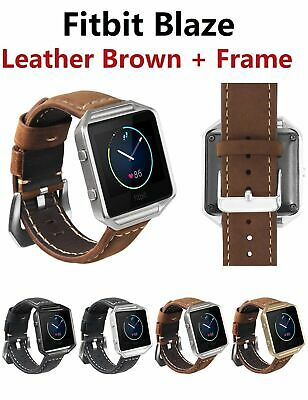 $ CDN18.08 • Buy Fitbit Blaze Accessory Replacement Brown Leather Wrist Band & Frame