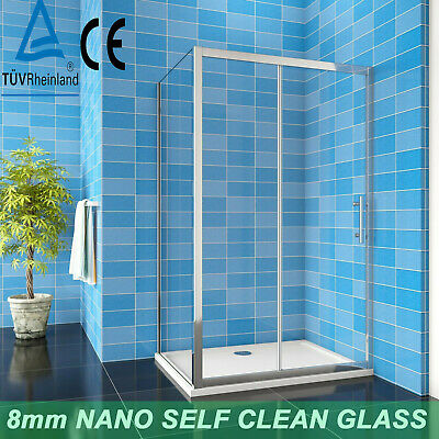 £130.28 • Buy Shower Enclosure Walk In Sliding Door Cubicle Side Panel And Tray 8mm NANO Glass