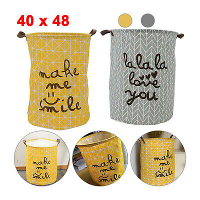 Washing Dirty Clothes Laundry Basket Canvas Baby Toy Hamper Bin Storage Bag Box • 4.99£