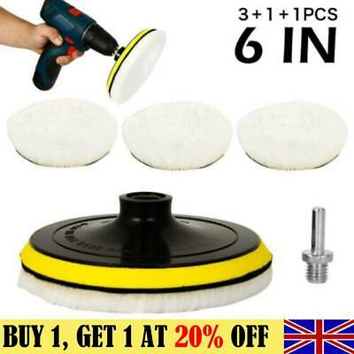 5X 6  Buffing Polishing Pads Kit Wool Wheel For Car Polisher With Drill Adapter • 7.79£
