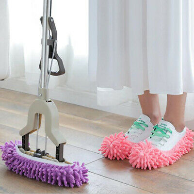 2PCS Microfibre Duster Shoe Sock Slippers Mop Dust Remover Cleaning Floor UK • 5.59£