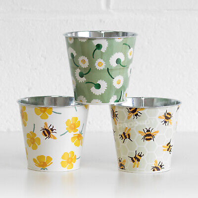 3 X Small Metal Indoor Floral Bumble Bee Plant Pots Windowsill Herb Planters • 15.99£