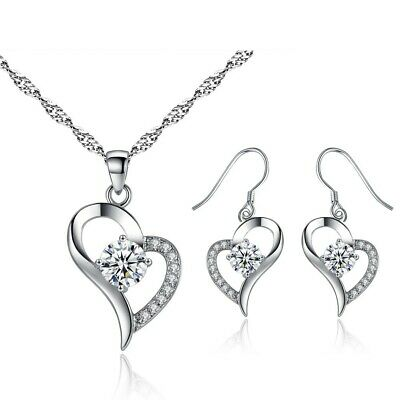 Swarovski® Crystal Jewellery Set Pendant Necklace Earrings Heart Ladies Gift UK  • 5.48£