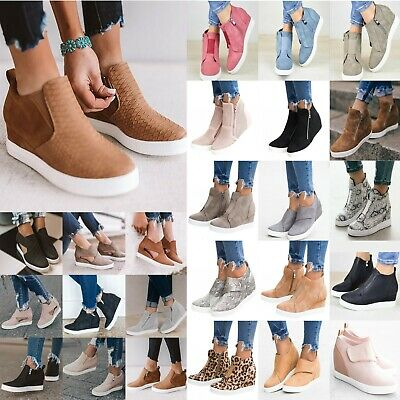 Womens Wedge Hidden Heel Casual Sneakers Ankle Boots Trainers Zipper Shoes Size • 16.90£