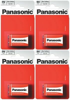 4 X PANASONIC 9V PP3 ZINC CARBON BATTERIES, 9 VOLT SMOKE ALARMS, LR22, MX1604 • 4.22£