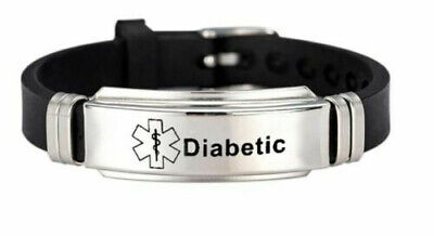 Adjustable Stainless Steel And Silicone Medical ID Warning Bracelet - Diabetic • 4£