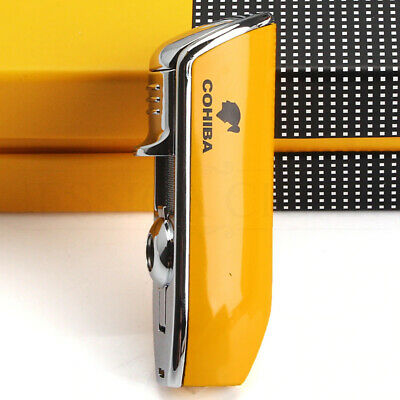 Mini COHIBA Cigar Lighter With Punch Windproof 3 Jet Blue Flame Torch Cigarette • 19.21£