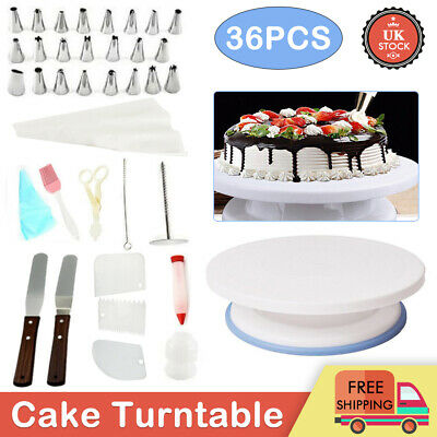 £11.99 • Buy 6/9/36Pcs Cake Decorating Turntable Set Tool Spatula Rotating Stand Smoother Kit