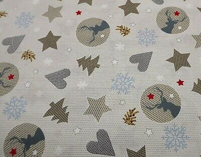 100% Cotton Beige Christmas Fabric With Stars Sold By The Half Metre 135cm Wide  • 3.99£