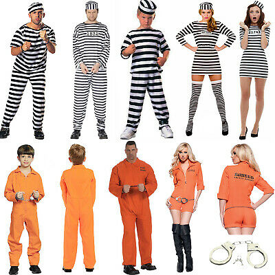 Mens Womens Convict Costume Robber Prisoner Police Stag Party Fancy Dress Lot • 11.99£