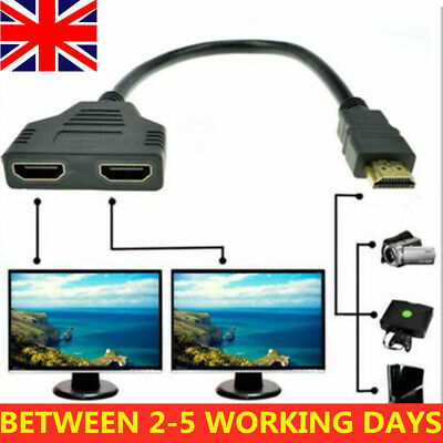 1080P HDMI Splitter Male To Female Cable Adapter Converter HDTV 1 Input 2 Output • 3.98£