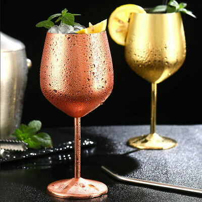 Large Stainless Steel Wine Glasses Unbreakable Metal Drink Cups 500ml Goblet Cup • 9.99£