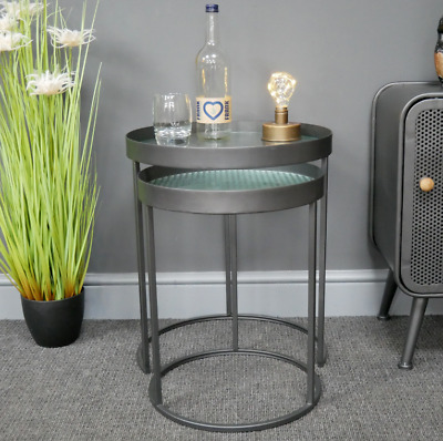Set Of 2 Industrial Side Tables Round Metal Nesting Lamp Unit With Glass Tops  • 109.99£