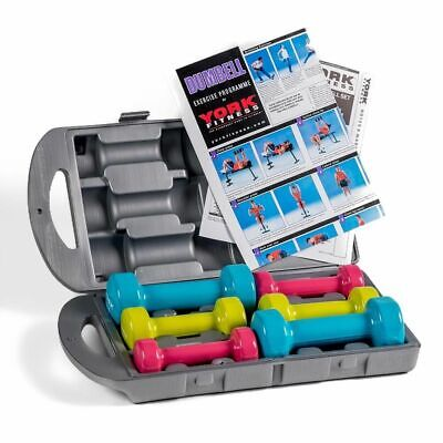 York Fitness 10kg Vinyl Dipped 3 Pair Fitbell Set In A Case • 44.99£