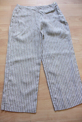 BODEN Brown Striped Linen Crop Trousers Size 8R  NEW. Side Zip • 12.99£