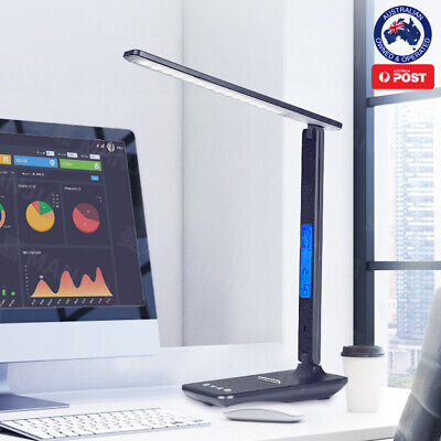 AU39.95 • Buy SESO LED Desk Lamp Light Rechargeable With Digital Clock Touch Dimmable Calendar