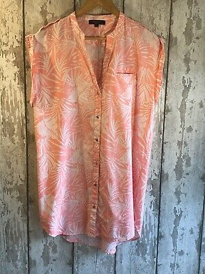 Cortefiel Pink & White Tropical Print Dipped Hem Tunic  / Beach Cover Size 12-14 • 9.99£