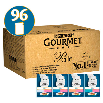 Gourmet Perle Ocean Delicacies In Gravy Wet Cat Food Pouches - 96 X 85G • 37.65£