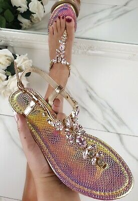 Bejewelled Diamante Crystal Sparkly Toe Post Flat Summer Holiday Fashion Sandals • 10.95£