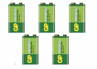GP GreenCell 9V Battery MN1604 6LR61 PP3 BLOCK 6F22 EXTRA HEAVY DUTY X5 • 4.22£