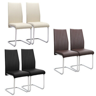 £179.95 • Buy Cantilever Faux Leather Upholstered Dining Chairs Office Chair Z-Shaped Seats