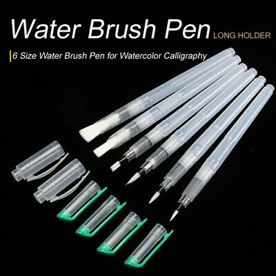 $12 • Buy 6 PACK Refillable Painting Soft Brush Water Color Drawing Pens Nylon Flat Tip