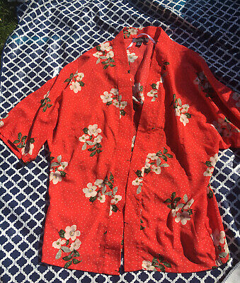 £4 • Buy Primark Size 8 Summer Red Floral Kimono Beach Cover Up