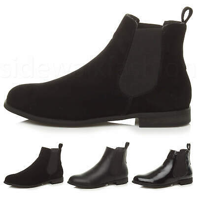 Womens Ladies Low Heel Flat Pull On Chelsea Stretch Riding Ankle Shoe Boots Size • 15.99£