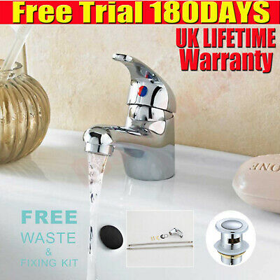 2020 Modern Bathroom Taps Basin Sink Mono Mixer Chrome Cloakroom Tap  With Waste • 14.90£
