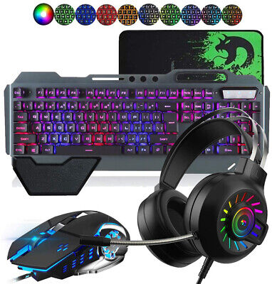 AU81.77 • Buy Gaming Keyboard Mouse Set Rainbow LED Wired USB And RGB Headset For PC PS4 Xbox