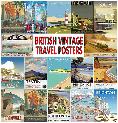 £14.85 • Buy British Vintage Travel Posters Wall Art Deco Retro Prints Posters Holiday Travel
