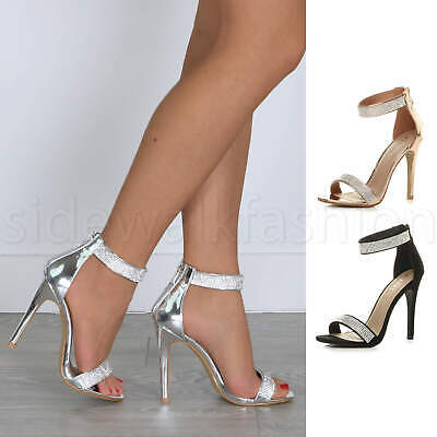 Womens Ladies High Heel Ankle Strap Diamante Sandals Party Evening Shoes Size • 22.99£
