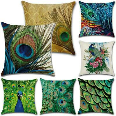 18 X 18 Square Green Peacock Feather Printed Pillowcase Cushion Cover Home Decor • 5.50£