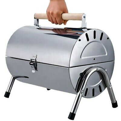 AU39 • Buy Portable Stainless Steel Barrel Charcoal Grill BBQ Wood Barbecue Camping Outdoor
