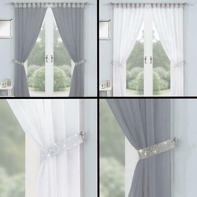 Vegas Diamante Lined Tab Top Voile Window Curtains Tie Backs White Grey • 24.99£