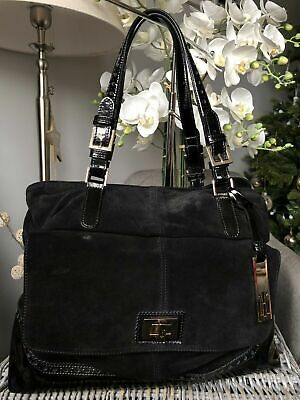 HOBBS Of LONDON Black Patent Leather/ Suede Made In Italy Handbag /Shoulder Bag • 48£