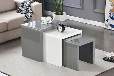 Nest Of 3 Tables Grey/White Tempered Glass Top High Gloss Side End Coffee Home • 119£