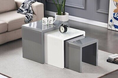 Nest Of 3 Tables Grey/White Tempered Glass Top High Gloss Side End Coffee Home • 129£