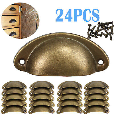 AU20.85 • Buy 24Pcs Cupboard Door Cabinet Cup Drawer Furniture Antique Brass Pull Shell Handle