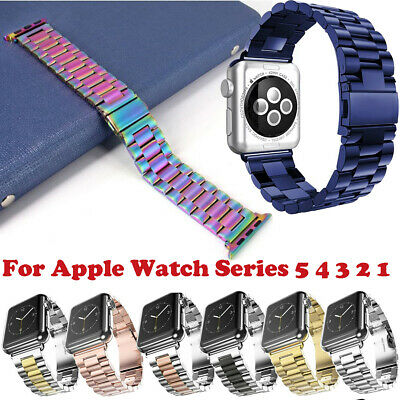 $ CDN12.43 • Buy For Apple Watch Series 6 5 4 3 2 1 Stainless Steel Band Metal Wrist Buckle Strap