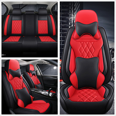 $ CDN180.55 • Buy Black/Red PU Leather Seat Cover 5D Deluxe Edition Universal Fit For 5-seats Car