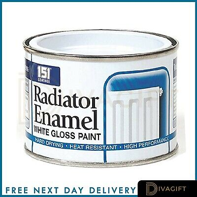 RADIATOR WHITE ENAMEL GLOSS PAINT -180ml Radiator Pipes, Tough Long Lasting • 5.49£